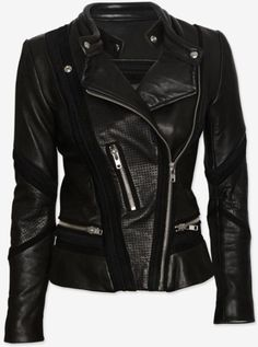 Love this: Inaya Perforated Detail Leather Jacket @Lyst