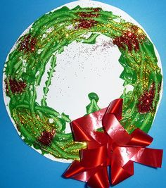 Christmas wreath made with marble painting!