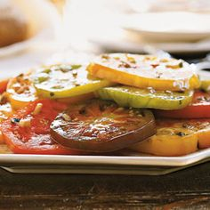 Marinated Heirloom Tomatoes with Tarragon | MyRecipes.com #myplate #vegetable