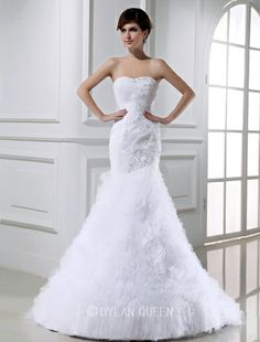 Stunning Mermaid Beading Sleeveless Tulle Wedding Dress with Applique