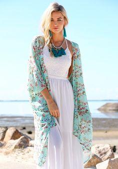 Floral Print Kimono and a white maxi dress...love!
