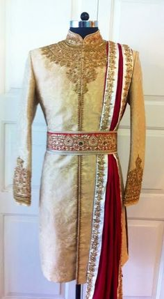 ~ Living a Beautiful Life ~ golden sherwani by sagar tenali … Wedding Dress Men, Indian Wedding Outfits, Wedding Suits, Indian Outfits, Indian Weddings, Wedding Couples, Wedding Ideas, Mens Sherwani, Wedding Sherwani