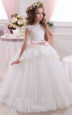 82cbabc8ae33 Flower Girl Gown Floor-length High Neck Sleeveless Tulle Dress with Bow # FlowerGirlDress Pretty