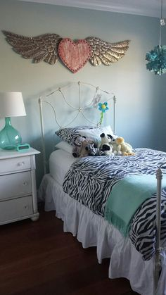 Benjamin Moore Palladian Blue walls, antique iron bed with chippy paint, shabby chic painted English pine dresser, and Pottery Barn zebra print ❤| Franklin Farmhouse Fixin