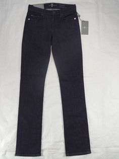 7 FOR ALL MANKIND straight leg KIMMIE curvy blue denim women's jeans SIZE 24 #7ForAllMankind #StraightLeg
