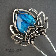 KJFH 7 hairpin, 925 sterling silver, labradorite. by KL-WireDream on DeviantArt