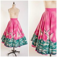 50s Vintage Skirt Handpainted Mexican Cotton by stutterinmama