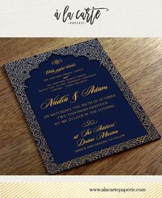 Dubai United Arab Emirates Arabian Nights Navy Blue Gold illustrated wedding invitation