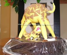 Homemade Giraffe Cake: I made this giraffe cake for my daughter.  The cake is gluten free and lactose free and Melman was created using a Rice Krispie base, coat hanger for his