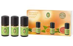 Die drei beliebtesten Zitrusdüfte im praktischen Set: Zitrone bio*, Orange bio* und Grapefruit bio*