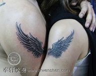 paw angel wings tattoo | matching angel wing tattoos on the arm for lovers