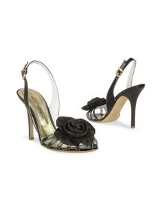 Black Leather Flower Slingback Sandal Shoes - A stunning hand-sewn rose accents Mario Bolognas slingback sandals with sleek black calf leather wrapping around a vertiginous stiletto high heel. Made in Italy