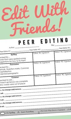 *TOTALLY FREE!* One of the best ways for students to edit, is with their peers. Often when editors get a chance to look at another person's writing, they can pick up on quite of few of the mistakes that the original author never would have noticed. This peer editing sheet was created in order to give students a structured and organized way to critically analyze their classroom peers writing efforts.