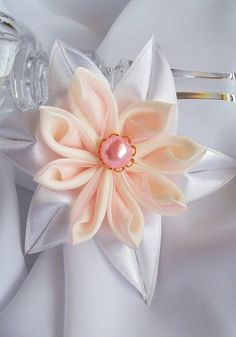 Wedding Fabric Flower Brooch, White Satin and Silk Organza Fabric Flower Brooch PIn, Bridesmaid Brooch