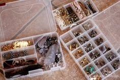Pack your jewelry in a bead organizer ~#~ SUPER IDEA for home, travel or packing.  But if your packing, then chances are they are being stored that way as well.  Just sayin because this blog post is about moving.