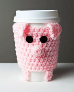Crocheted Cuddly Pink Pig Coffee Cup Cozy