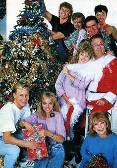 The cast of Neighbours TV soap opera, Christmas photo, circa 1986. Can you spot Kylie Minogue & Jason Donovan?