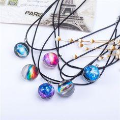 New Galaxy Star Pattern Glass Pendant Necklace #Pendant
