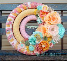 Triple Wrapped Fabric Felt Wreath with by WreathsByEmmaRuth