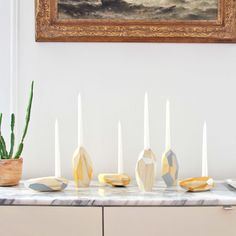 """DORIT Candle Holder by PELLE $125 Types / Dims:  Tall: 3.5""""w x 2.5""""d x 6.5""""h  Short: 6.5""""w x 3.5""""d x 2.5""""h  Made in New York"""