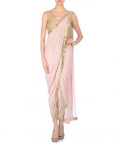Mirror Work Embroidered Powder Pink Dhoti Sari - Neeta Lulla - Designers