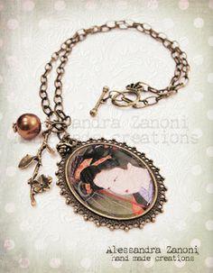 Collana con cameo in bronzo e charms, omaggio a Rita Mangano...ho trasformato un suo quadro in un prezioso monile!