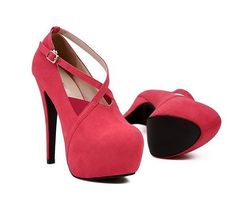 Strappy Red Criss Cross High Heel Fashion Shoes