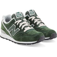New Balance Suede Sneakers ($110) ❤ liked on Polyvore featuring shoes, sneakers, green, new balance, suede shoes, laced up shoes, lacing sneakers and lace up shoes