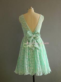 Short MInt Lace Bridesmaid Dress/Custom V-back Wedding Party Dress/Peach Blush Pink Mint Green Bridesmaid Dress/Prom Dress/Formal Dress