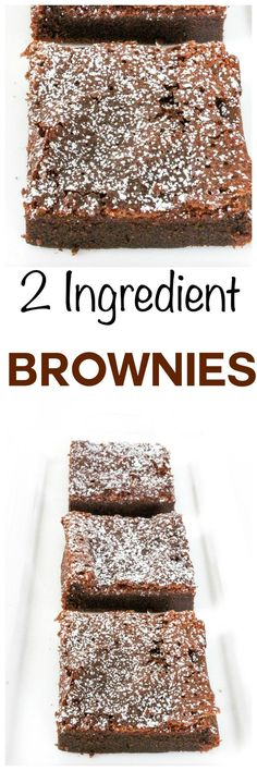 2 Ingredient Nutella Brownies: Rich fudgy chocolate brownies with only 2 ingredients? Can you believe these easy brownies have NO flour or brownie mix?!