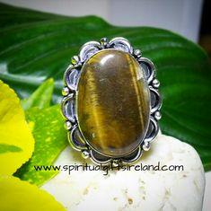 Tigers Eye Gemstone Crystal Vitality Ring Sterling Silver