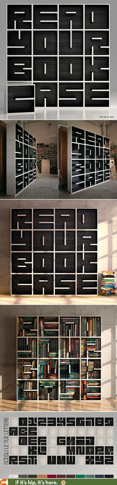 "Modular bookcase, ""A. Bookcase,"" designed by Eva Alessandrini and Robert Saporiti. A great example of the use of line direction – these short lines form letters. The modular units can be combined to form different words. Book Storage, Cube Storage, Storage Ideas, Paper Storage, Diy Storage, Bookshelf Storage, Cube Bookcase, Cool Furniture, Furniture Design"