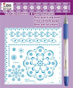 Embossing Stencil with Tools for Parchment Craft PS101