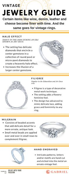 Filigree **** This year's Vintage Jewelry Guide. jewelry guide Vintage and Vintage-Inspired Jewelry Guide - Gabriel & Co Crystal Jewelry, Diamond Jewelry, Jewelry Rings, Jewelry Ideas, Jewelry Box, Silver Jewelry, Silver Rings, Jewellery, Antique Rings