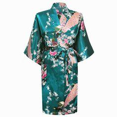 Dark green Fashion Women's Peacock Kimono Bath Robe Nightgown Gown Yukata Bathrobe Sleepwear With Belt S M L XL XXL XXXL KQ 11-in Robes from Women's Clothing & Accessories on Aliexpress.com | Alibaba Group