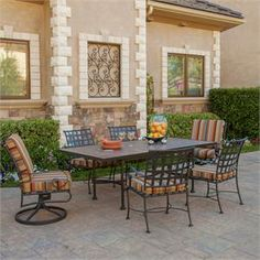 OW Lee Classico 7 Piece Wrought Iron Patio Dining Set | Furniture For Patio