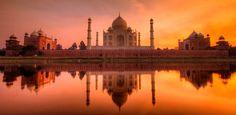 zonsondergang Taj Mahal, Agra, India