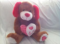 """Plush dog Valentine heart Best Made Toys large sitting 17"""" brown red love puppy #BestMadeToys"""