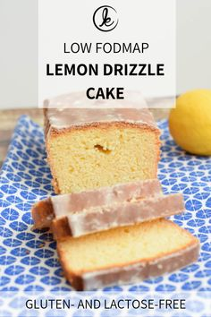 A delicious gluten-free lemon drizzle cake. Nobody will taste that it is gluten-free! Lemony cake with a yummy lemon drizzle. Low FODMAP and lactose-free. Lactose Free Dinners, Dairy Free Snacks, Lactose Free Recipes, Fodmap Recipes, Lemon Recipes, Diet Recipes, Recipies, Lactose Free Cakes, Lactose Free Diet
