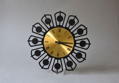 Vintage clock brass GDR East German wall clock by MightyVintage, €80.00