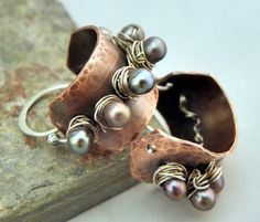 Studded Pearl Hoops, Copper, Sterling Silver, and Pearl earrings by The Purple Lily Designs #Etsy