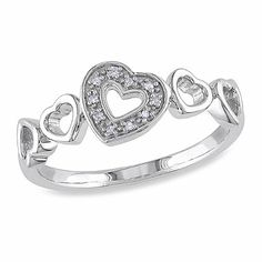 From your heart to hers, this polished sterling silver ring features a charming open hearts design that your love will simply adore. Accented with round-cut pave diamonds, this lovely ring adds the perfect touch of sparkle to every day.