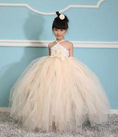 Flower girl dress , Ivory tutu dress ,Baby girl dress , Ivory Toddler dress