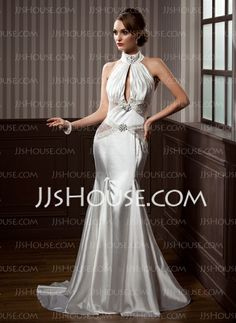 Wedding Dresses - $228.99 - Mermaid High Neck Court Train Tulle Charmeuse Wedding Dress With Ruffle Beadwork (002012202) http://jjshouse.com/Mermaid-High-Neck-Court-Train-Tulle-Charmeuse-Wedding-Dress-With-Ruffle-Beadwork-002012202-g12202