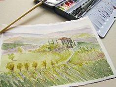 Tuscan landscape fine art print travel watercolor by ucuspucus