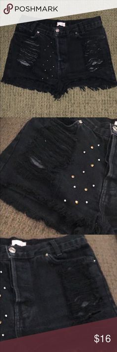 John Galt by Brandi Melville Destroyed Jean Shorts Preloved & in great condition!! 😍🖤  Please see pics and let me know if you have any questions !! Comes from a pet & smoke free home, no rips or stains. 🖤 Brandy Melville Shorts Jean Shorts