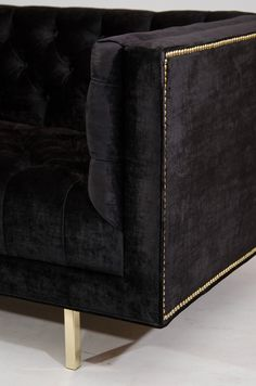 Milo Baughman Tufted Sofa, black & gold
