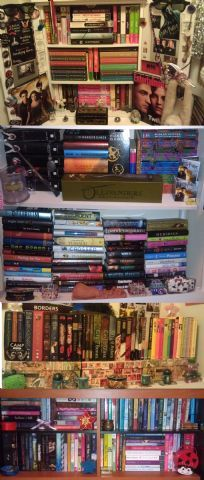 """Since I was a child, I have loved to read and have collected so many books since then. At 18, I still love to read and even blog about the books that I read through book reviews. My shelves are totally overflowing with books, that I have to shove them anywhere I can find space... hence the multiple pictures of different collections of books. I wish I had the space to have a humongous bookshelf, but to me they just look more homey the way I have them now with all my knick knacks…"