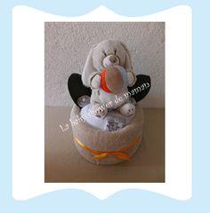 La baby shower de maman Gateau de couches ou Diaper Cake ayant pour nom : Mon lapin musical