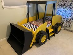 Twin Size Bulldozer Bed PLANS (pdf format), Create a Construction Themed Bedroom for your Child, Perfect for the DIY Woodworking Enthusiast Bedroom Themes, Kids Bedroom, The Plan, How To Plan, Tractor Bed, Tractor Toddler Bed, Construction Bedroom, Woodworking Enthusiasts, Bed Dimensions